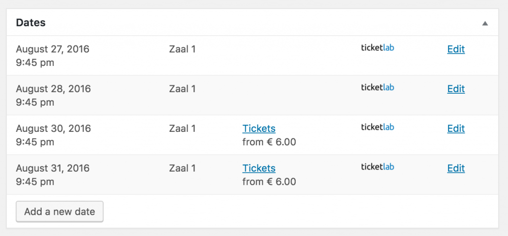 Your events are automatically imported from Ticketlab